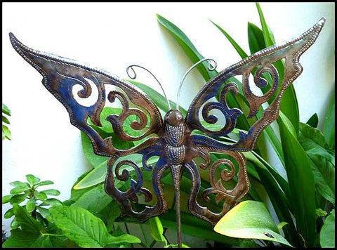 Butterfly Metal Garden Plant Stick   Haitian Steel Drum Art   Outdoor Garden  Decor ...