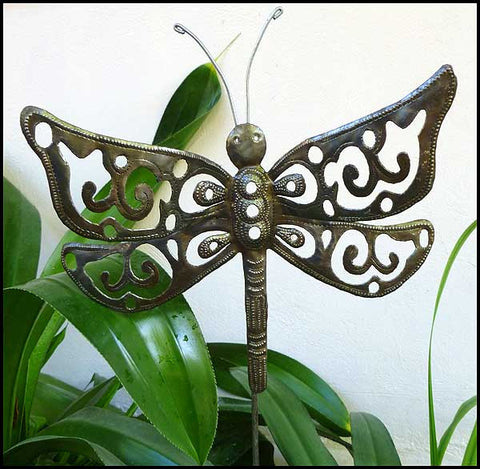 Dragonfly Plant Stake - Metal Outdoor Garden Decor  - Hand cut from Steel Drums in Haiti 13""