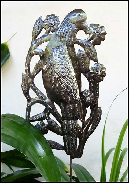 Metal Garden Decor - Bird Plant Stake - Garden Art, Plant Stick - Haitian Steel Drum Art - 12""