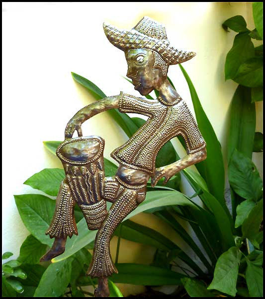 Metal Garden Plant Stake, Outdoor Garden Decor, Haitian Oil Drum Art - Haitian Drummer