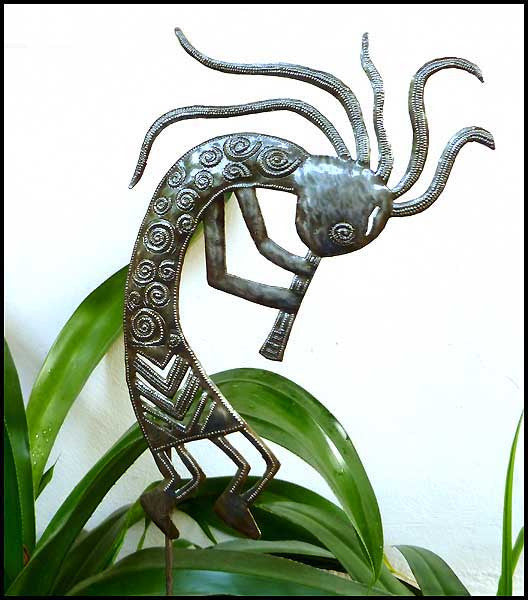 Kokopelli Garden Plant Stake - Outdoor Metal Garden Decor - Haitian Steel Oil Drum Metal Art