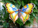 "Butterfly Plant Stake - Hand Painted Metal Garden Decor - 10"" x 12"""