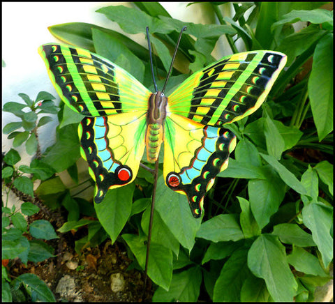 "Hand Painted Metal Butterfly Plant Stake, Outdoor Yard Art, Garden Art, Lawn Decor - 10"" x 12"""