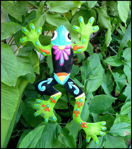 Frog Plant Stick  - Painted Metal Outdoor Garden Decor  - Recycled Steel Drums in Haiti