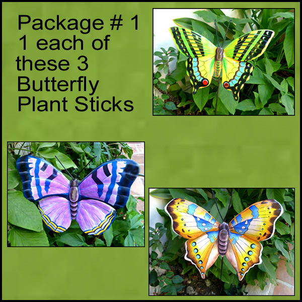 Painted Metal Butterfly Garden Plant Sticks - 3 Butterflies -  Hand Painted Metal - Package #1