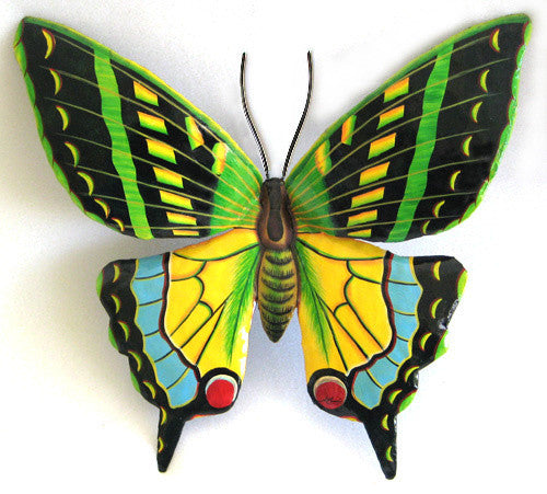 Butterfly Garden Decor   Painted Metal Butterfly Wall Hanging   Outdoor  Metal Art   Tropical Decor