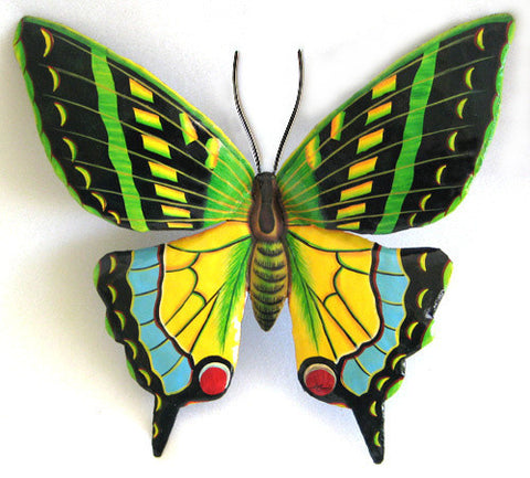 Butterfly Garden Decor - Painted Metal Butterfly Wall Hanging - Metal Art - Tropical Decor - 34""