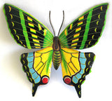 Butterfly Metal Garden Wall Decor - Painted Metal Butterflies - Recycled Steel Drum - 48""
