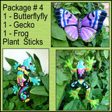Outdoor Garden Decor - Painted Metal  Frog, Butterfly, Gecko Plant Sticks - Tropical Art- Pkg. #4
