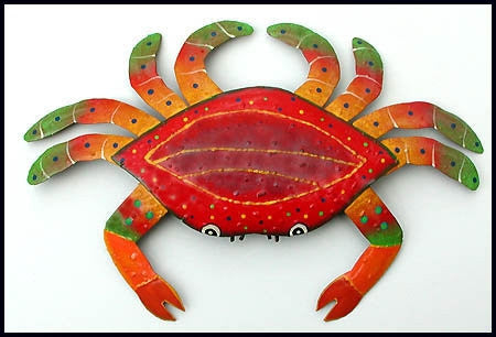 "Crab Nautical Design, Painted Metal Crab Wall Hanging,  Coastal Wall Art, Beach Decor, 15"" x 21"""