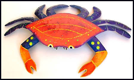 "Crab Design - Hand Painted Metal Crab Wall Decor - Orange & Blue - 11"" x 16"""