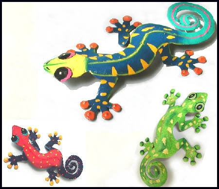 Painted Metal Gecko Wall Hangings - Gecko Wall Decor - Garden Decor - Set of 3