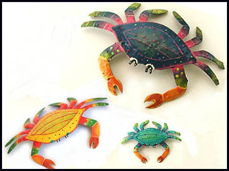 Set of 3 Crabs - Hand Painted Metal Crab Wall Decor - Garden Art