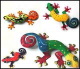 Geckos Wall Decor - Painted Metal Tropical Wall Hanging - Garden Art - Set of 4