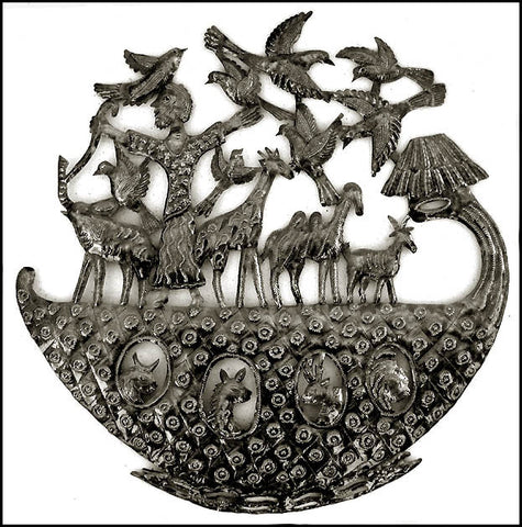 Noah's Ark - Haitian Steel Drum Metal Art Wall Hanging - Christian Wall Art, Bible Art - Religious Art - 24""