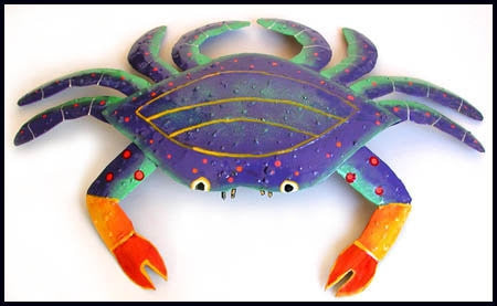 "Crab Nautical Art, Painted Metal Blue Crab Wall Hanging, Beach Home Decor, Coastal Decor - 15"" x 21"""
