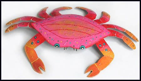 "Hand Painted Metal Pink Crab Wall Hanging  - Outdoor Garden & Patio Decor - 11"" x 16"""
