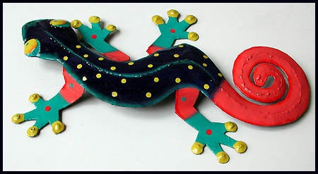 Gecko, Tropical Wall Art, Painted Metal Garden Art , Tropical Decor, Haitian Art, 19""