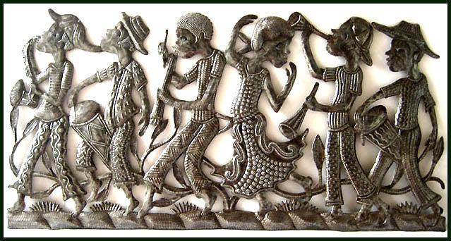 "Metal Wall Art of Haiti, Haitian Street Parade, Metal Art, Recycled Steel Drum Wall Hanging - 17"" x 34"""