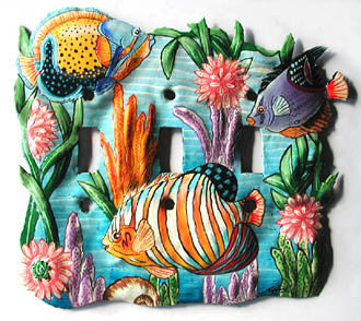 Tropical Fish Design Metal Switchplate Cover - Hand Painted - 3 Holes