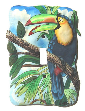 Painted Metal Light Switch Cover - Tropical Toucan Design - 1 Hole