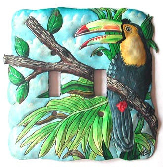Metal Lightswitch Cover - Tropical Toucan - 2 Holes