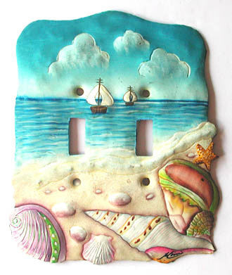 Shell Design - Painted Metal Switch Plate Cover - Beach Decor - 2 Holes