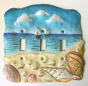 Triple Switch Plate Cover - Sea Shell  Design - Painted Metal Beach Decor - 3 Holes