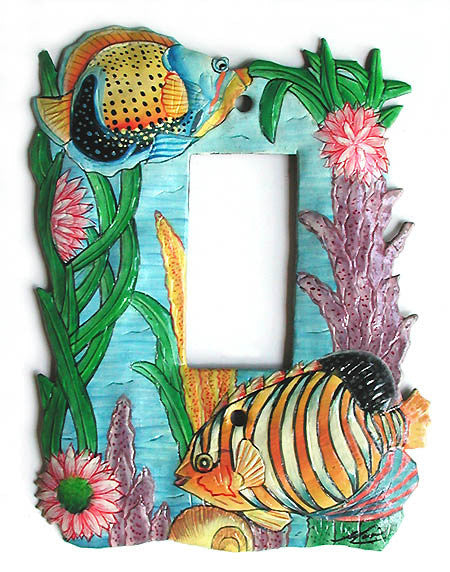 Rocker Style Metal Switch Plate Cover - Hand Painted Tropical Fish Switchplate - Single