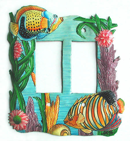 Rocker Switch Plate Cover - Tropical Fish Design. Hand Painted Metal - Double