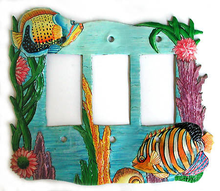 Painted Metal Light Switch Cover - Tropical Fish - Rocker Style - 3 Holes