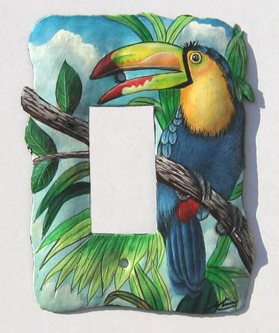 Rocker Style Metal Switch Plate Cover - Hand Painted Tropical Toucan Parrot - Single