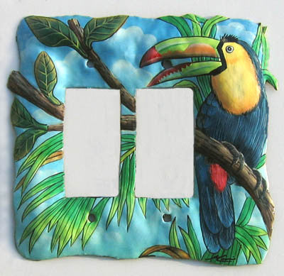 Painted Metal Rocker Switch Plate Cover - Tropical Design Toucan - Double