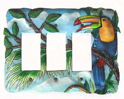 Painted Metal Light Switch Cover - Tropical Toucan Design - Rocker Style - 3 Holes