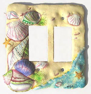 Rocker Light Switch Cover - Hand Painted Metal - Beach Decor - Double
