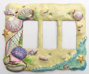 Painted Metal Seashell Rocker Switch Plate Cover - Tropical Design - Rocker Switchplate - 3 Hole