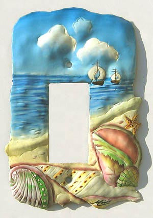 Rocker Swtichplate Cover - Painted Metal Shell Design - Beach Decor - 1 Hole