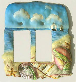 Hand Painted Metal Switchplate Cover - Seashells -  Rocker Switch Plate - 2 Holes