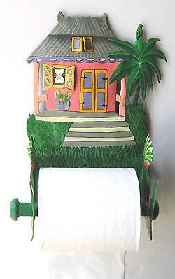 Caribbean House Toilet Paper Holder - Toilet Tissue Holder - Painted Metal