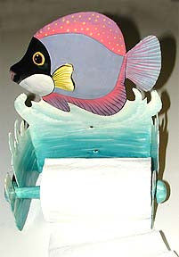 Tropical Fish Toilet Paper Holder -Bathroom D'cor - Toilet Tissue Holder - Hand Painted Metal