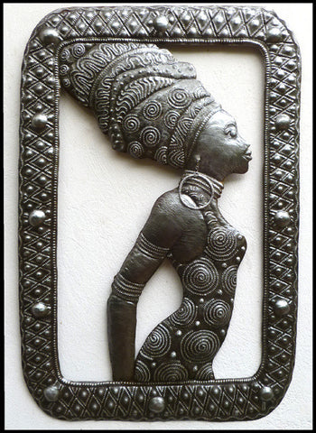 "African Woman, Haiti Metal Art Wall Decor, Haitian Art,  Steel Drum Art, Haiti Metal Art - 21"" x 32"""