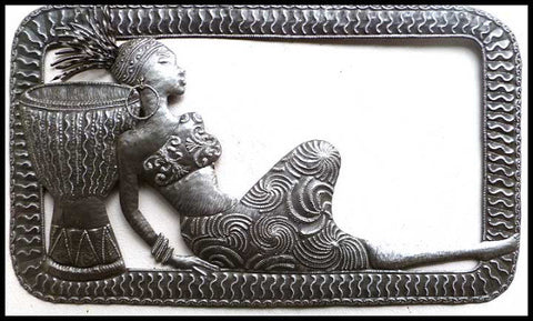 "Haiti Metal Art, African Woman, Metal Wall Hanging, Haitian Steel Drum Metal Art Design - 20"" x 34"""