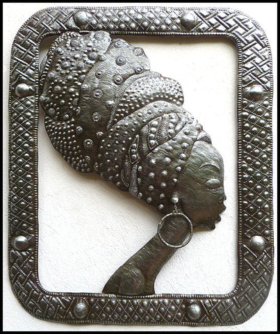 "Haitian Steel Drum Metal Art - African Woman Metal Wall Hanging -- 20"" x 24"""