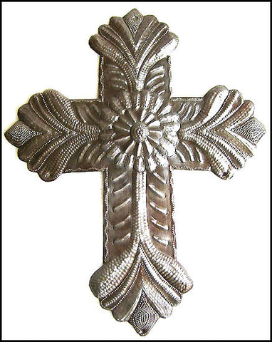 "Metal Cross Wall Decor - Christian Gift - Haitian Recycled Steel Drum Art - 12 3/4"" x 9 1/2"""