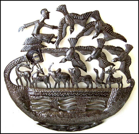 Noah's Ark Metal Wall Hanging, Haitian Steel Drum Art, Christian Wall Decor, Bible Art - 24""