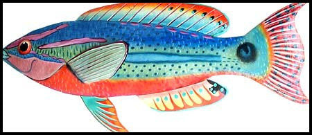 Tropical Fish Wall Hanging - Hand Painted Metal Exquisite Wrasse - Metal Tropical Fish Wall Art