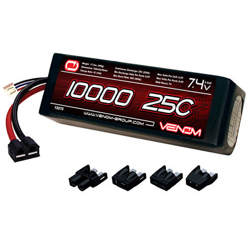 Venom Group Venom 25C 2S 10000mAh 7.4V Lipo Battery With Universal Plug System