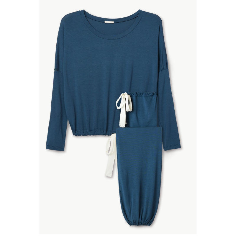 Gisele Slouchy Set in Indigo Blue + Ivory