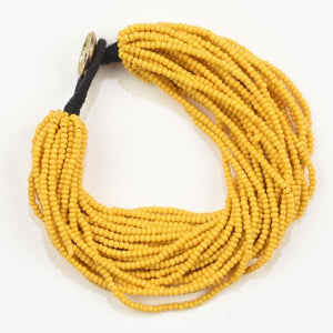 Multi-Layer Seed Bead Bracelet in Mustard - Becket Hitch