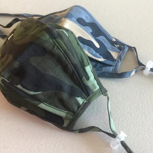 green and blue camo face masks - Becket Hitch